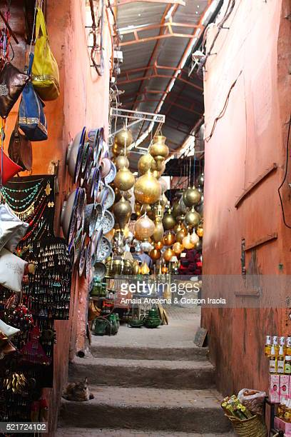 An alley in the souks of Marrakech