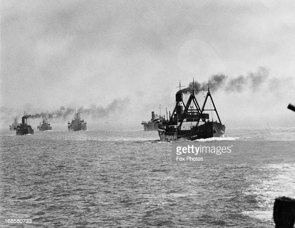 An Allied convoy at sea off the east coast of Britain World War II 1940