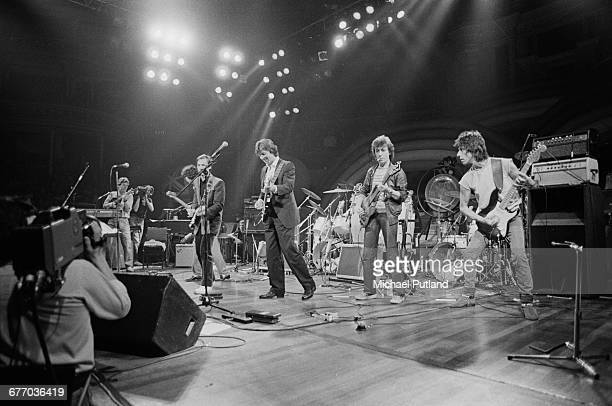 An allstar lineup performing on stage at a charity concert for ARMS held at the Royal Albert Hall London 20th September 1983 Left to right from...