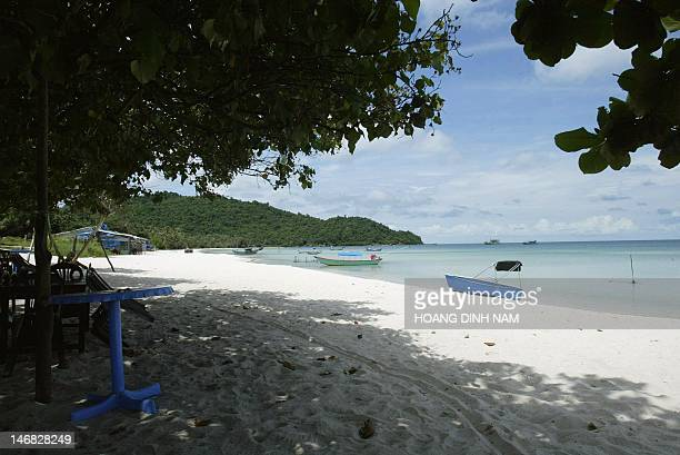 An almost empty beach is pictured in Vietnam's southern island of Phu Quoc on 16 September 2004 The luxury resorts have yet to be built on this...