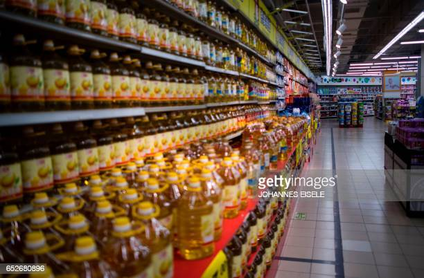 An almost empty Lotte Mart is pictured in Shanghai on March 13 2017 The store remained open but dozens of other Lotte stores in China have been...