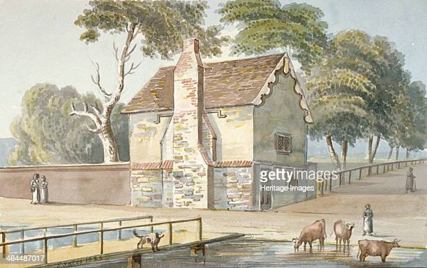 An almshouse in Carshalton Surrey 1826 View with cattle and figures Carshalton is now in the London Borough of Sutton