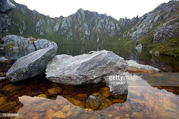 An alpine lake in the Western Arthur Range. Southwest National Park, Tasmania, Australia.