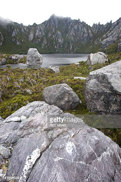 An alpine valley in the Western Arthur Range. Southwest National Park, Tasmania, Australia.