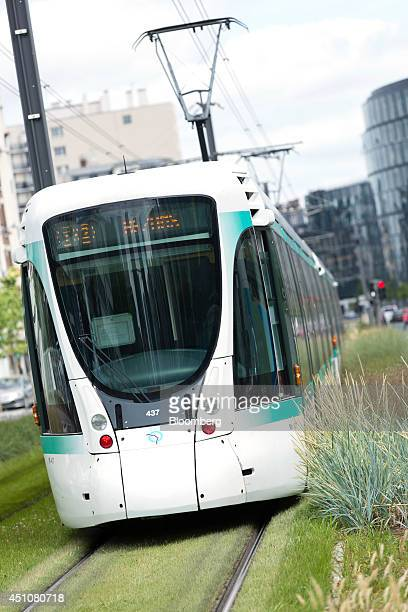 An Alstom Citadis tram operated by the Parisian Transport Authority and manufactured by Alstom SA is seen running between Pont de Bezons and Port de...