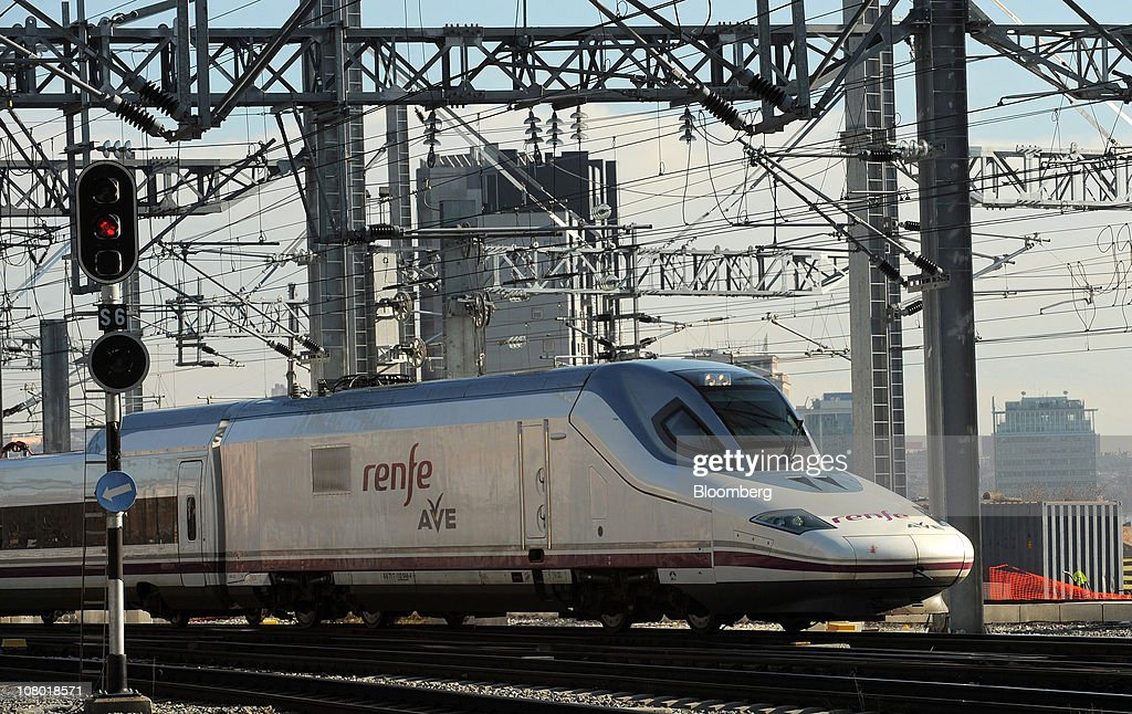 An Alta Velocidad Espanola highspeed train operated by RENFE arrives at Puerta de Atocha railway station in Madrid Spain on Wednesday Jan 12 2011...