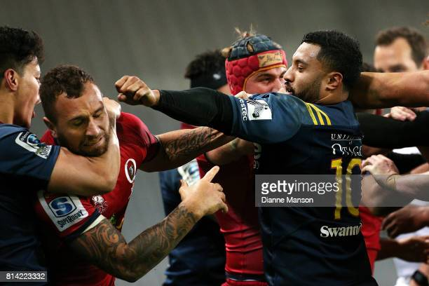 An altercation breaks out between players during the round 17 Super Rugby match between the Highlanders and the Reds at Forsyth Barr Stadium on July...