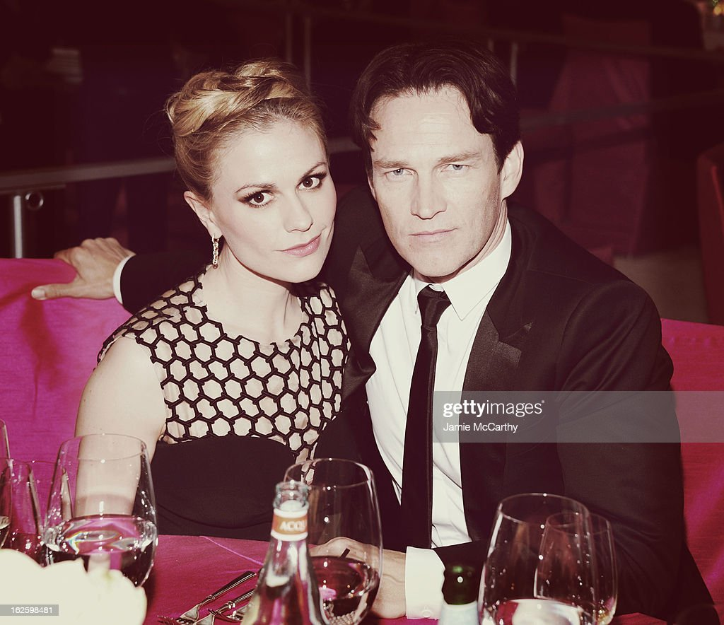 An alternate view of actors Anna Paquin and Stephen Moyer at the 21st Annual Elton John AIDS Foundation Academy Awards Viewing Party at West Hollywood Park on February 24, 2013 in West Hollywood, California.