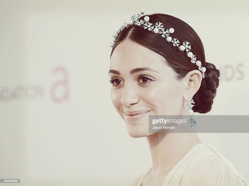 An alternate view of actress <a gi-track='captionPersonalityLinkClicked' href=/galleries/search?phrase=Emmy+Rossum&family=editorial&specificpeople=202563 ng-click='$event.stopPropagation()'>Emmy Rossum</a> at the 21st Annual Elton John AIDS Foundation Academy Awards Viewing Party at West Hollywood Park on February 24, 2013 in West Hollywood, California.