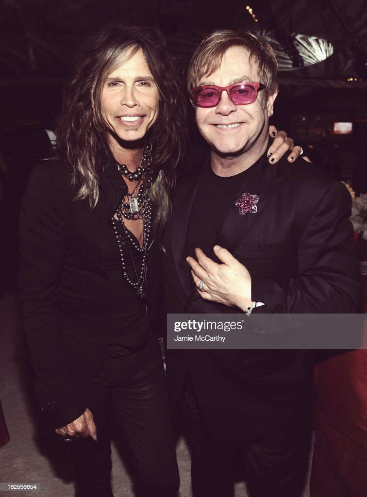 An alternate view of singer <a gi-track='captionPersonalityLinkClicked' href=/galleries/search?phrase=Steven+Tyler&family=editorial&specificpeople=202080 ng-click='$event.stopPropagation()'>Steven Tyler</a> and Sir <a gi-track='captionPersonalityLinkClicked' href=/galleries/search?phrase=Elton+John&family=editorial&specificpeople=171369 ng-click='$event.stopPropagation()'>Elton John</a> at the 21st Annual <a gi-track='captionPersonalityLinkClicked' href=/galleries/search?phrase=Elton+John&family=editorial&specificpeople=171369 ng-click='$event.stopPropagation()'>Elton John</a> AIDS Foundation Academy Awards Viewing Party at West Hollywood Park on February 24, 2013 in West Hollywood, California.