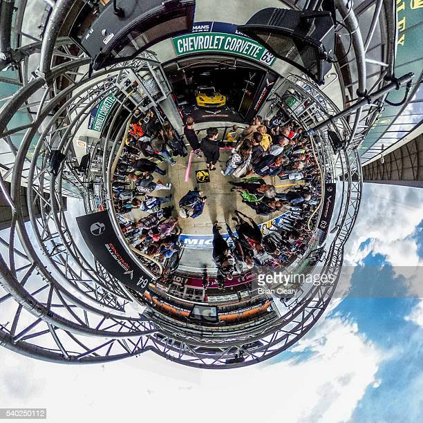 An alternate view of the Corvette garage taken with a 360 degree camera during preparations for the Le Mans 24 Hour Race on June 14 2016 in Le Mans...