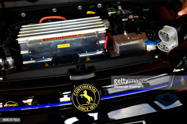 An alternating current and direct current socket are shown at AllCharge charging system during a media event by Continental to showcase new...
