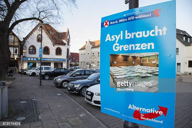 An Alternative for Germany election campaign poster in Volkmarsen Germany on Monday Feb 29 2016 While Chancellor Angela Merkel's Christian Democratic...