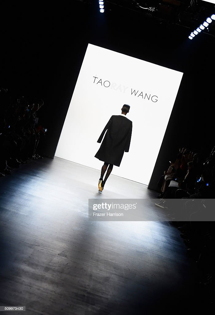 An alternative view as a model walks the runway wearing Taoray Wang Fall 2016 during New York Fashion Week: The Shows at The Dock, Skylight at Moynihan Station on February 13, 2016 in New York City.
