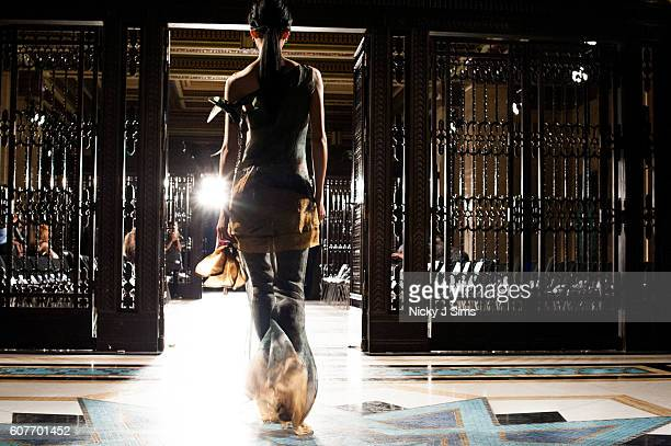 An alternative view of a model at the rehearsal of the Malan Breton show during London Fashion Week Spring/Summer collections 2017 on September 18...