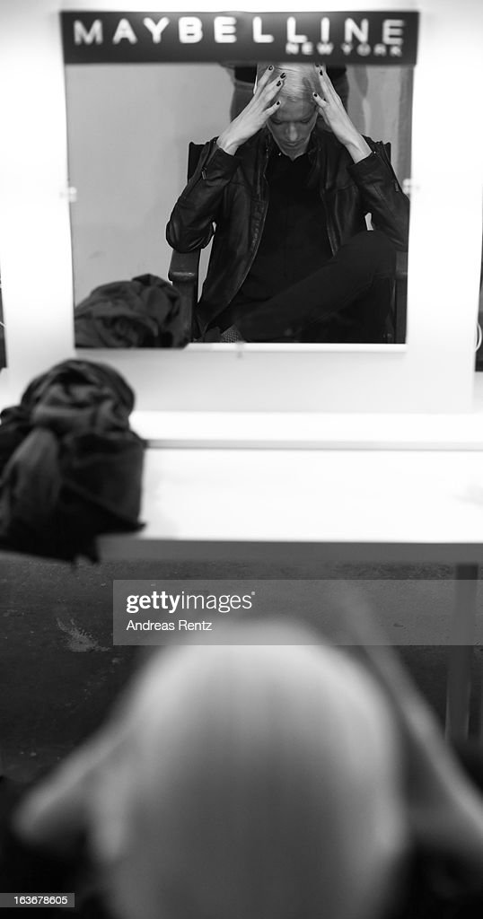 An alternative view of a model backstage ahead of the Nej show during Mercedes-Benz Fashion Week Istanbul Fall/Winter 2013/14 at Antrepo 3 on March 14, 2013 in Istanbul, Turkey.