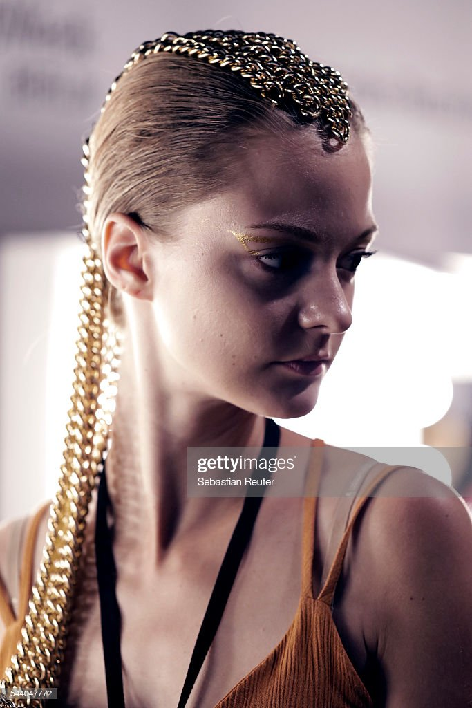 An alternative view of a model in the backstage before the Odeur show during the Mercedes-Benz Fashion Week Berlin Spring/Summer 2017 at Erika Hess Eisstadion on July 1, 2016 in Berlin, Germany.