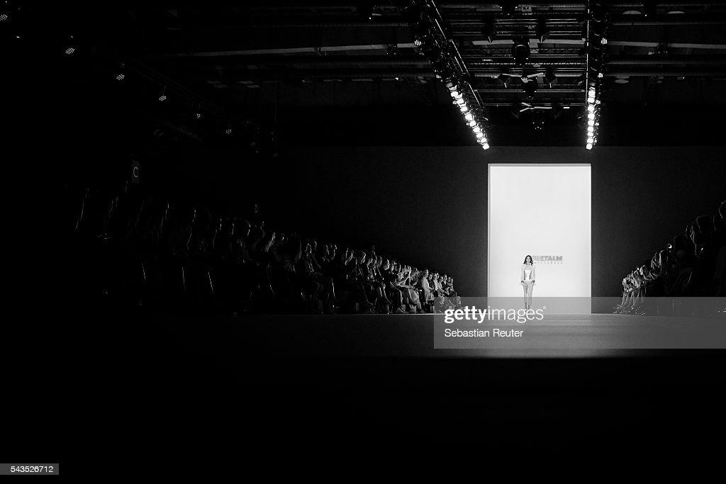 An alternative view of a model on the runway at the Sportalm show during the Mercedes-Benz Fashion Week Berlin Spring/Summer 2017 at Erika Hess Eisstadion on June 29, 2016 in Berlin, Germany.