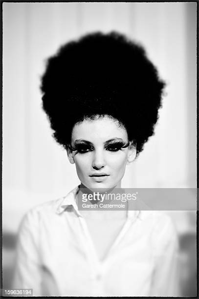 An alternative view of a model prior to the Guido Maria Kretschmer Autumn/Winter 2013/14 fashion show during the MercedesBenz Fashion Week Berlin at...
