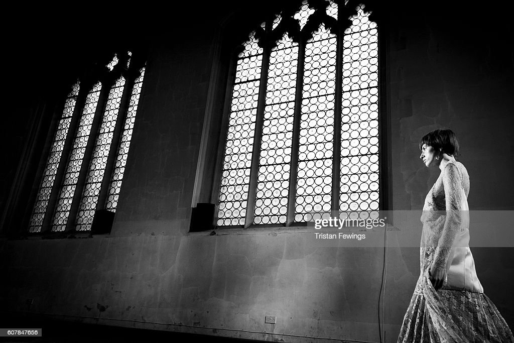 An alternative view of a model walking the runway at the Sharon Wauchob show during London Fashion Week Spring/Summer collections 2017 on September 19, 2016 at St Cyprians church in London, United Kingdom.