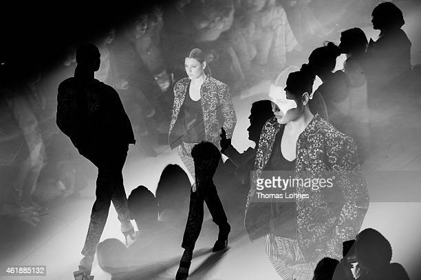 An Alternative View of a Model walking the Runway during the Glaw Show as part of the MercedesBenz Fashion Week Berlin Autumn/Winter 2015/16 at...