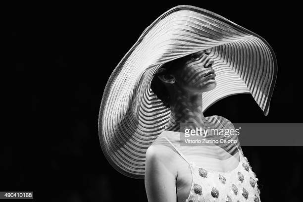 An alternative view of a model walks the runway during the Giorgio Armani fashion show as part of Milan Fashion Week Spring/Summer 2016 on September...