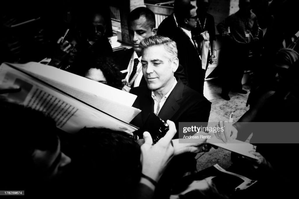 An alternative view of actor <a gi-track='captionPersonalityLinkClicked' href=/galleries/search?phrase=George+Clooney&family=editorial&specificpeople=202529 ng-click='$event.stopPropagation()'>George Clooney</a> who attends the 'Gravity' photocallthe 70th Venice International Film Festival on August 28, 2013 in Venice, Italy.