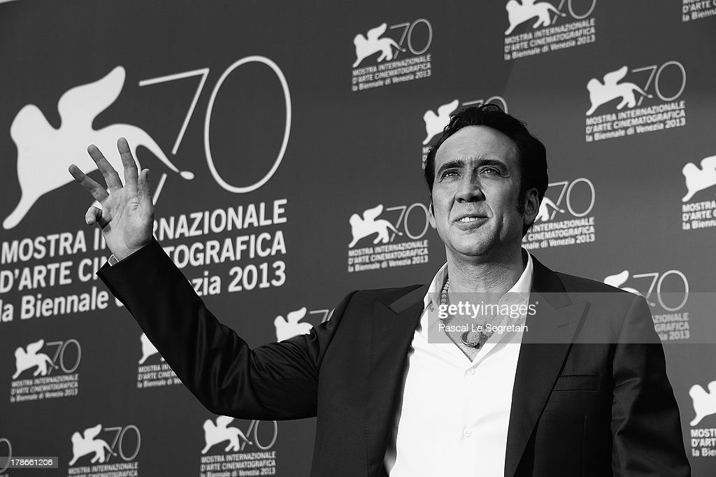 An alternative view of actor <a gi-track='captionPersonalityLinkClicked' href=/galleries/search?phrase=Nicolas+Cage&family=editorial&specificpeople=196531 ng-click='$event.stopPropagation()'>Nicolas Cage</a> during the 'Joe' Photocall on August 30, 2013 in Venice, Italy.