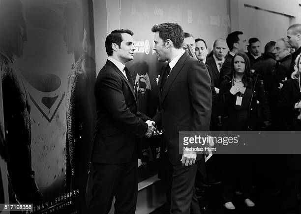 An Alternative View Of Actors Henry Cavill Ben Affleck attend The 'Batman V Superman Dawn Of Justice' New York Premiere at Radio City Music Hall on...
