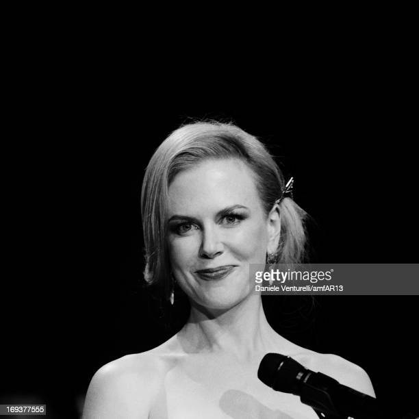 An alternative view of Actress Nicole Kidman on stage during amfAR's 20th Annual Cinema Against AIDS during The 66th Annual Cannes Film Festival at...