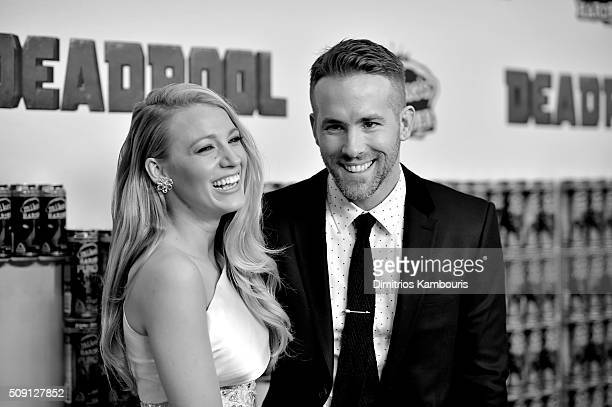 An alternative view of Blake Lively and Ryan Reynolds at the 'Deadpool' fan event at AMC Empire Theatre on February 8 2016 in New York City
