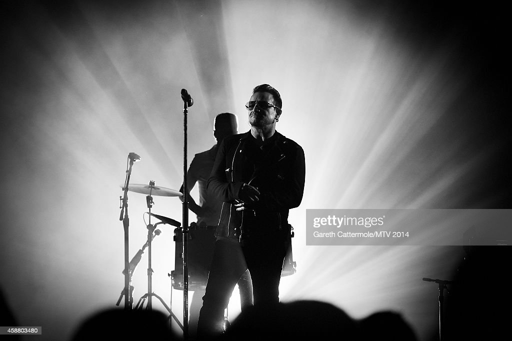 An alternative view of <a gi-track='captionPersonalityLinkClicked' href=/galleries/search?phrase=Bono+-+Singer&family=editorial&specificpeople=167279 ng-click='$event.stopPropagation()'>Bono</a> of <a gi-track='captionPersonalityLinkClicked' href=/galleries/search?phrase=U2&family=editorial&specificpeople=201268 ng-click='$event.stopPropagation()'>U2</a> during the MTV EMA's at The Hydro on November 9, 2014 in Glasgow, Scotland.