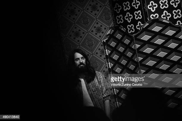 An alternative view of designer Alessandro Michele after the Gucci show during Milan Fashion Week Spring/Summer 2016 on September 23 2015 in Milan...