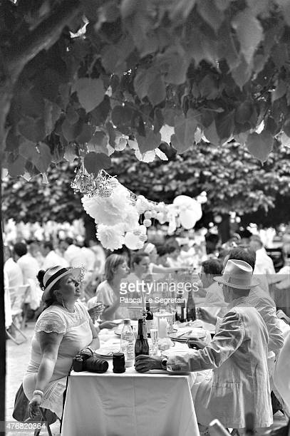 An alternative view of guests at the 27th 'Diner En Blanc' Dinner In White In Paris on June 11 2015 in Paris France Over 10000 people attended the...