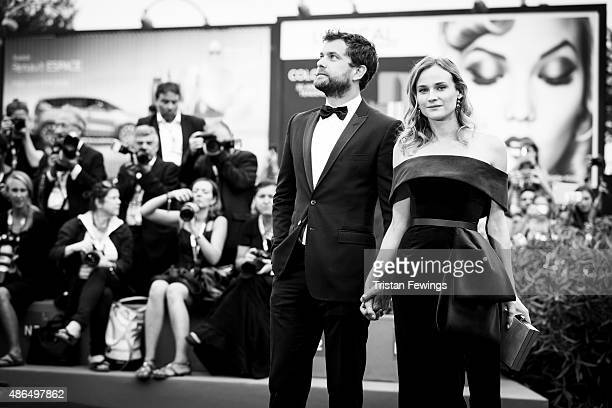 An alternative view of Joshua Jackson and Diane Kruger as they attend a premiere for 'Black Mass' during the 72nd Venice Film Festival at on...