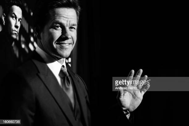 An alternative view of Mark Wahlberg at a photocall for 'Broken City' at Hotel Ritz Carlton on February 4 2013 in Berlin Germany
