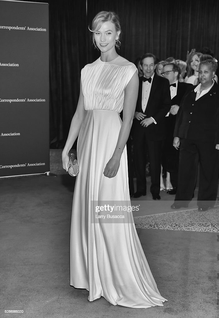 An alternative view of Model <a gi-track='captionPersonalityLinkClicked' href=/galleries/search?phrase=Karlie+Kloss&family=editorial&specificpeople=5555876 ng-click='$event.stopPropagation()'>Karlie Kloss</a> shows her Prince symbol tribute at at the 102nd White House Correspondents' Association Dinner Weekend on April 30, 2016 in Washington, DC.
