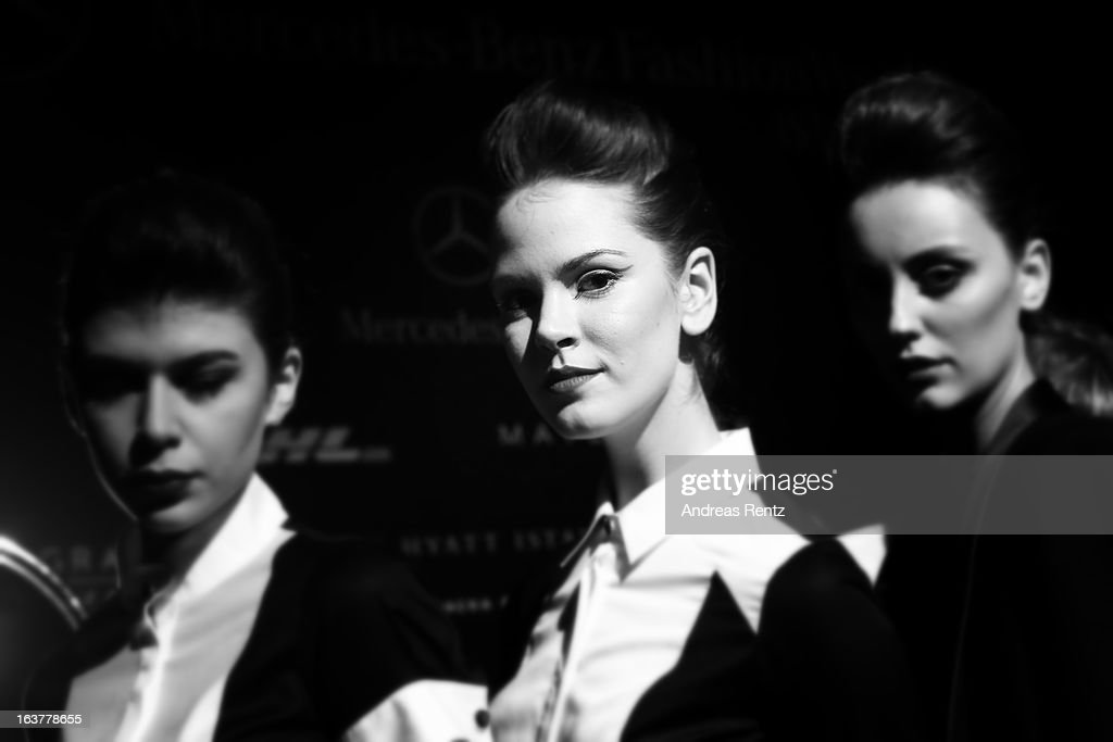 An alternative view of models backstage ahead of the Adl & Cengiz Abazoglu show during Mercedes-Benz Fashion Week Istanbul Fall/Winter 2013/14 at Antrepo 3 on March 15, 2013 in Istanbul, Turkey.