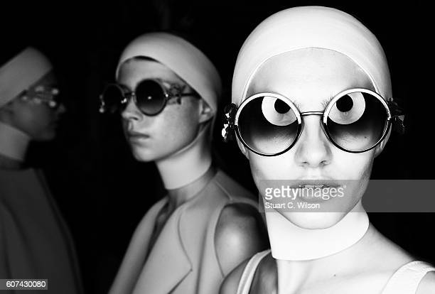 An alternative view of models backstage at the Anya Hindmarch show during London Fashion Week Spring/Summer collections 2017 on September 18 2016 in...