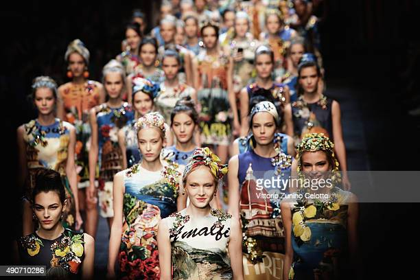 An alternative view of models walk the runway during the Dolce Gabbana fashion show as part of Milan Fashion Week Spring/Summer 2016 on September 27...