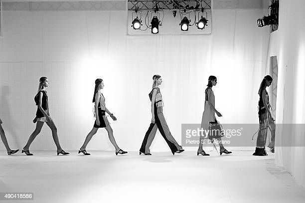 An alternative view of models walking the runway during the Mila Schon fashion show as part of Milan Fashion Week Spring/Summer 2016 on September 28...