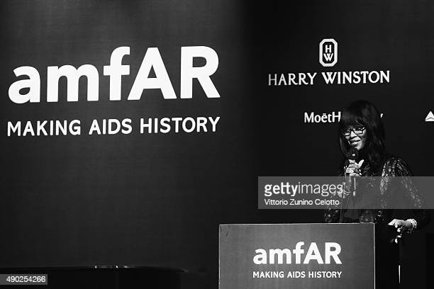 An alternative view of Naomi Campbell at amfAR Milano 2015 at La Permanente on September 26 2015 in Milan Italy