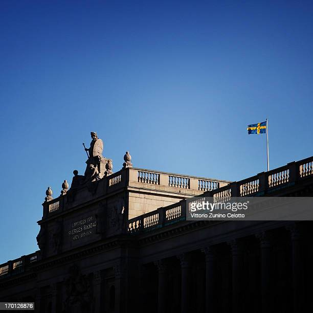 An alternative view of the Swedish flag as preparartions continue before the wedding of Princess Madeleine of Sweden and Christopher O'Neill on June...