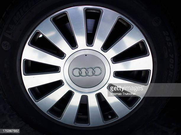 An aluminum hubcap with the Audi logo pictured on May 15 2013 in Berlin Germany