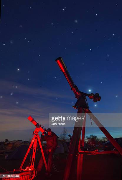An amateur astronomer at a star party in Herefordshire.
