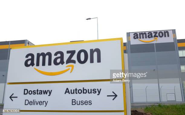An Amazon distribution center stands in Kolbaskowo near Szczecin Poland on November 23 2017 Workers at Amazon the world's third largest retailer are...