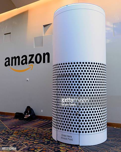 An Amazon Echo activation is displayed at the Aria Resort Casino on January 6 2017 in Las Vegas Nevada CES the world's largest annual consumer...