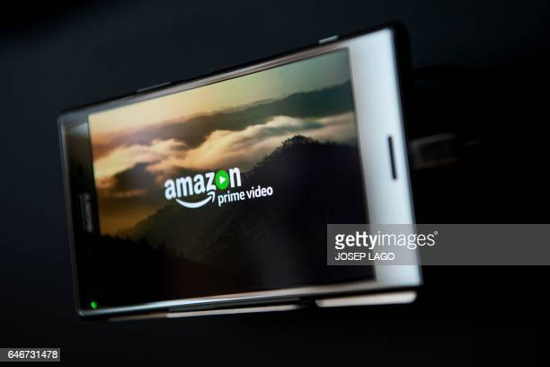 An Amazon prime video logo it's displayed on a Sony Xperia Z5 premium during the Mobile World Congress on the third day of the MWC in Barcelona on...