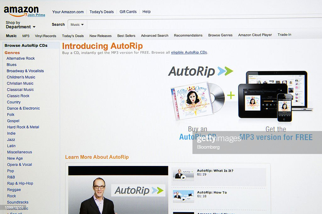 An Amazon.com web page displaying information about their new AutoRip service is displayed for a photograph in San Francisco, California, U.S., on Tuesday, Jan. 22, 2013. The idea behind AutoRip is simple. Buy an eligible CD from Amazon and get access to the tracks in digital form for free. Photographer: David Paul Morris/Bloomberg via Getty Images