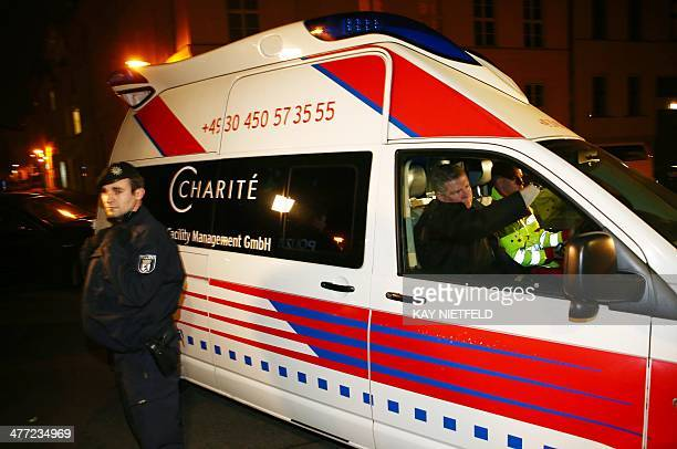 An ambulance arrives at the German university hospital Charite in Berlin on March 7 where Yulia Tymoshenko leader of Ukraine's Batkivshchyna Party...